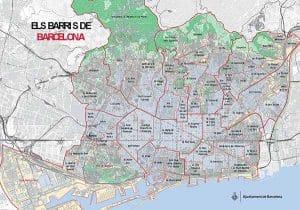 Mudances amb grua a Barcelona Mapa Barris